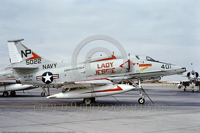 "A-4USN-VA-164 0007 A static Douglas A-4F USN attack jet 155022 VA-164 GHOST RIDERS ""LADY JESSIE"" USS Hancock NAS Lemoore 11-1974 military airplane picture by Michael Grove"