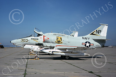 A-4USN 00148 A static US Navy Douglas A-4F Skyhawk, 155030, VA-212 RAMPANT RAIDERS, USS Hancock, NAS Alameda 3-1975, military airplane picture, by Michael Grove, Sr