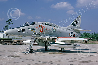 A-4USN 00164 A USN Douglas A-4F Skyhawk attack jet, 154200, VA-55 WARHORSES USS Hancock, Cecil Field 4-1974, airplane picture, by R E Kling