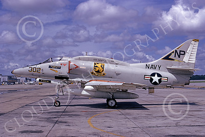 A-4USN 00146 A static US Navy Douglas A-4F Skyhawk, 155057, VA-212 RAMPANT RAIDERS, USS Hancock, NAS Jacksonville 5-1974, military airplane picture, by R E Kling