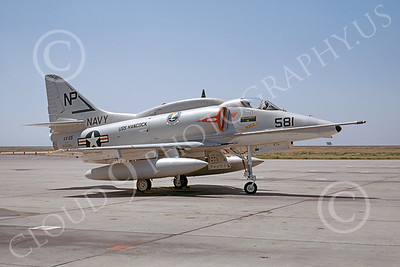 A-4USN 00157 A USN Douglas A-4F Skyhawk attack jet, 155035, VA-55 WARHORSES USS Hancock, NAS Lemoore 4-1968, airplane picture, by Clay Janson