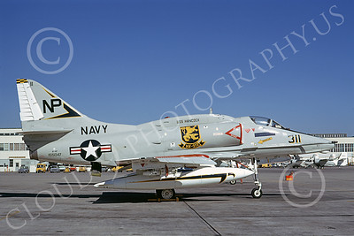 A-4USN 00145 A static US Navy Douglas A-4F Skyhawk, 155047, VA-212 RAMPANT RAIDERS, USS Hancock, NAS Alameda 4-1973, military airplane picture, by Michael Grove, Sr