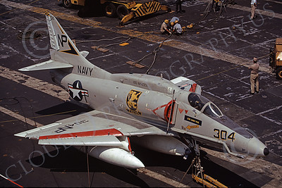 A-4USN 00006 A static US Navy Douglas A-4F Skyhawk, 154973, VA-212 RAMPANT RAIDERS on USS Hancock 19 April 1973, military airplane picture, by Hideki Nagakubo