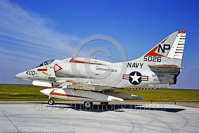 A-4USN-VA-164 0005 A static Douglas A-4F USN attack jet 155026 VA-164 GHOST RIDERS commander's airplane USS Hancock NAS Lemoore 7-1974 military airplane picture by Michael Grove
