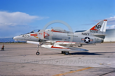 A-4USN-VA-164 0006 A static Douglas A-4F USN attack jet 155024 VA-164 GHOST RIDERS USS Hancock NAS Moffett 9-1974 military airplane picture by Michael Grove