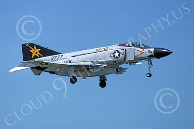 F-4USN 00054 A landing McDonnell Douglas F-4 Phantom II US Navy 153777 VF-33 TARSIERS USS Independence May 1977 military airplane picture by Michael Grove, Sr