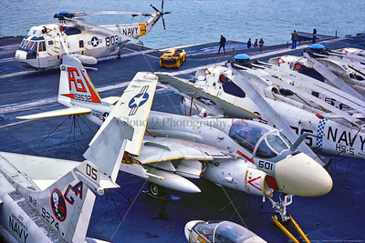 A-6-USN-VA-65 001 A Grumman A-6 Intruder, USN all weather attack jet, 158532, VA-65 THE WORLD FAMOUS FIGHTING TIGERS, on USS Independence, 11-1975 Portsmouth, military airplane picture by Stephen W  D  Wolf     CCC_0173     Dt