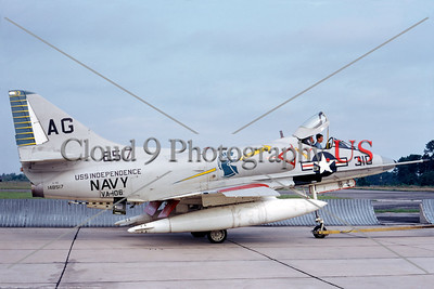 A-4USN-VA-106 001 A towed US Navy Douglas A-4C Skyhawk attack jet, 148517, VA-106 GLADIATORS USS Independence, NAS North Island, 6-1969, military airplane picture by Duane A Kasulka     DT copy