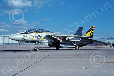 F-14USN 00725 A static colorful Grumman F-14 Tomcat USN 161603 VF-21 Freelancers CAG USS Independence NAS Miramar 1-1991 military airplane picture by Michael Grove, Sr