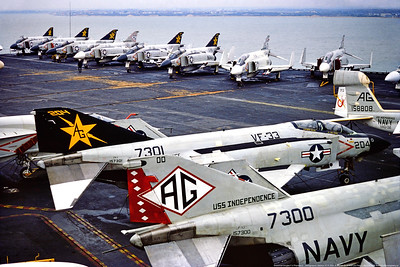 F-4-USN-VF-33 0003 A McDonnell Douglas F-4J Phantom II USN jet fighter, 157301, VF-33 TARSIERS, on USS Independence, 1974, military airplane picture by Stephen W  D  Wolf     CCC_0198     Dt