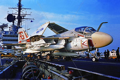 A-6-USN-VA-65 003 A static Grumman A-6E Intruder, USN 158043, carrier based long range all weather bomber, VA-65 THE WORLD FAMOUS FIGHTING TIGERS, USS Independence, 11-1975 Portsmouth, military airplane picture by Stephen W  D  Wolf CCC_0090  Dt