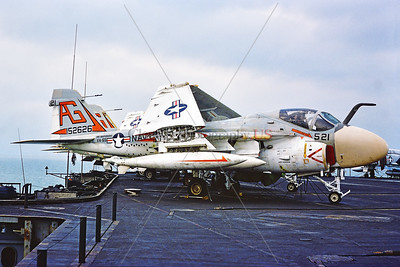A-6-USN-VA-65 004 A static Grumman A-6E Intruder, USN 158043, carrier based long range all weather bomber, VA-65 THE WORLD FAMOUS FIGHTING TIGERS, USS Independence, 11-1975 Portsmouth, military airplane picture by Stephen W  D  Wolf  CCC_0133  Dt