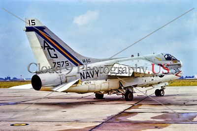 A-7USN-VA-66 001 A static Vought A-7E Corsair II, USN carrier based attack jet, 157575, VA-66 WALDOMEN, USS Independence, 7-1975 Andrews AFB, military airplane picture by Stephen W  D  Wolf     DDD_5406     Dt