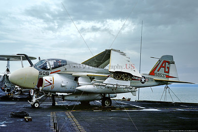 A-6-USN-VA-65 005 A static Grumman A-6E Intruder, USN 158537, carrier based long range all weather bomber, VA-65 THE WORLD FAMOUS FIGHTING TIGERS, USS Independence, 11-1975 Portsmouth, military airplane picture by Stephen W  D  Wolf  CCC_0143  Dt
