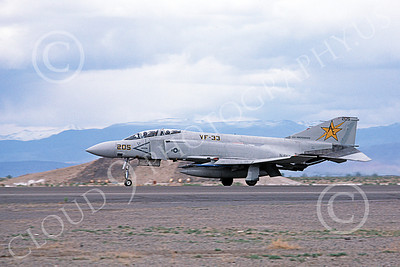 F-4USN 00709 A landing McDonnell Douglas F-4 Phantom II US Navy VF-33 TARSIERS USS Independence NAS Fallon May 1980 military airplane picture by Michael Grove, Sr