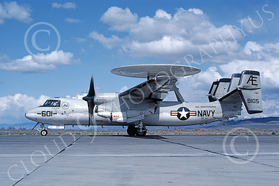 E-2USN 00129 A taxing Grumman E-2C Hawkeye USN 159105 VAW-122 HUMMER-GATORS USS Independence NAS Fallon 4-1983 military airplane picture by Michael Grove, Sr