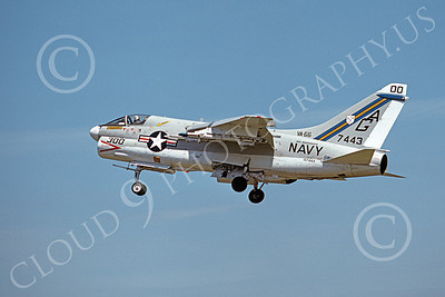 A-7USN 00134 A landing Vought A-7E Corsair II USN 157443 VA-66 WALDOMEN commanding officer's USS Independence 8-1975 military airplane picture by Michael Grove, Sr