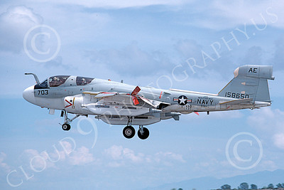 EA-6BUSN 00330 A landing Grumman EA-6B Prowler USN 158650 VAQ-131 LANCERS USS Independence NAS Fallon 5-1980 military airplane picture by Michael Grove, Sr