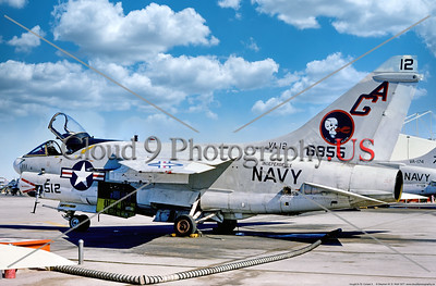 A-7USN-VA-12 005 A static Vought A-7E Corsair II, USN carrier based attack jet, 157579, VA-12 FLYING UBANGIS, USS Independence, 9-1977 MCAS Yuma, military airplane picture by Stephen W  D  Wolf coll         DDD_4671     Dt