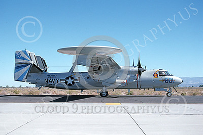E-2USN 00143 A taxing Grumman E-2 Hawkeye USN 163695 VAW-121 BLUE TAILS USS John C Stennis NAS Fallon 1993 military airplane picture by Michael Grove, Sr