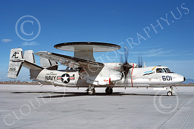 E-2USN 00141 A taxing Grumman E-2 Hawkeye USN 162616 VAW-125 TIGERTAILS USS John F Kennedy NAS Fallon 3-1988 military airplane picture by Douglas D Olson