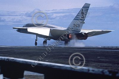 RA-5C 00080A A landing North American RA-5C Vigilante USN 151631 RVAH-14 EAGLE EYES in afterburner on the USS John F Kennedy Official USN Photograph