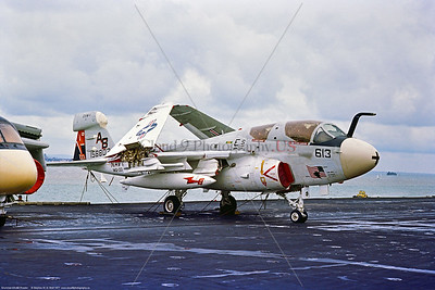 EA-6B-USN-VAQ-133 001 A static Grumman EA-6B Prowler, USN carrier based electronic jammer, 158803, VAQ-133 WIZARDS, AB tail code, BICENTENNIAL markings, 9-1977 Pax River, military airplane picture by Stephen W  D  Wolf   CCC_5943  Dt