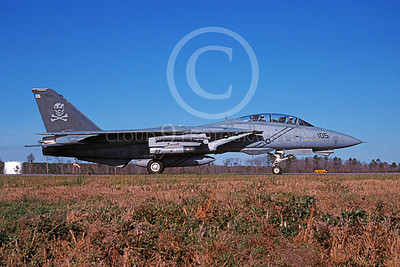 F-14USN 00969 A Grumman F-14 Tomcat USN 163229 VF-103 JOLLY ROGERS USS John F Kennedy taxis at NAS Oceana 1-2005, by David F Brown