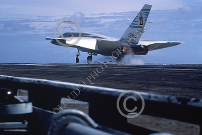 RA-5C 00080 A landing North American RA-5C Vigilante USN 151631 RVAH-14 EAGLE EYES in afterburner on the USS John F Kennedy Official USN Photograph