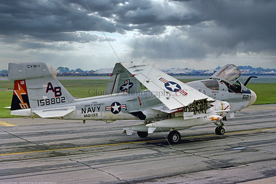 EA-6B-USN-VAQ-133 002 A taxing Grumman EA-6B Prowler, USN carrier based electronic jammer, 158802, VAQ-133 WIZARDS, USS John F  Kennedy AB tail code, 6-1977 Greenham Common, military airplane picture by Stephen W  D  Wolf   DDD_0103  Dt