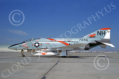F-4USN 00423 McDonnell Douglas F-4J Phantom II US Navy 157245 VF-114 AARDVARKS USS Kitty Hawk NAS Moffett 8-1974, military airplane picture, by Michael Grove, Sr