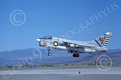 A-7USN 00140 A landing Vought A-7E Corsair II USN 159655 VA-22 FIGHTING REDCOCKS commander's aircraft USS Kitty Hawk NAS Fallon 1-1980 military airplane picture by Michael Grove, Sr