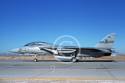 F-14USN 00714 A USN F-14 Tomcat jet fighter 161284 VF-51 SCREAMING EAGLES USS Kitty Hawk taxis at NAS Fallon 3-1994, by Michael Grove, Sr