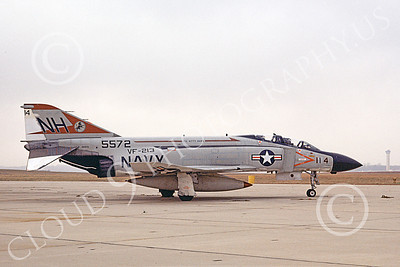 F-4USN 00699 A static McDonnell Douglas F-4 Phantom II US Navy 155572 VF-213 BLACK LIONS USS Kitty Hawk Jan 1975 military airplane picture by Michael Grove, Sr