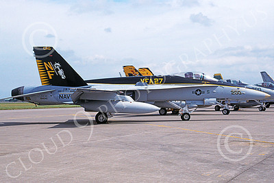 Boeing F-18C-USN 00059 A static Boeing F-18C Hornet USN 164045 VFA-27 ROYAL MACES USS Kitty Hawk CAG NAS Fallon 9-1998 military airplane picture by Michael Grove, Sr