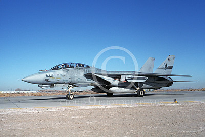 F-14USN 00712 A USN F-14 Tomcat jet fighter 159862 VF-51 SCREAMING EAGLES USS Kitty Hawk taxis at NAS Fallon 3-1984, by Michael Grove, Sr