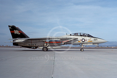 F-14USN 00694 A taxing USN F-14A Tomcat jet fighter 162602 VF-51 SCREAMING EAGLES USS Kitty Hawk NAS Fallon 4-1982, by Michael Grove, Sr