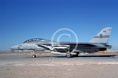 F-14USN 00715 A USN F-14 Tomcat jet fighter 162591 VF-51 SCREAMING EAGLES USS Kitty Hawk taxis at NAS Fallon 3-1994, by Michael Grove, Sr