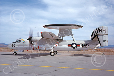 E-2USN 00135 A taxing Grumman E-2C Hawkeye USN 160011 VAW-122 HUMMER-GATORS USS Kitty Hawk NAS Fallon 4-1977 military airplane pictures by Michael Grove, Sr