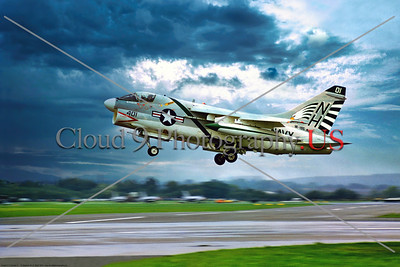 A-7USN-VA-195 002 A Vought A-7 Corsair II, USN carrier based attack jet, VA-195 DAMBUSTERS, USS Kitty Hawk, landing 9-1970 Farnborough, military airplane picture by Stephen W  D  Wolf     853_9352     Dt