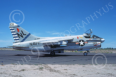 A-7USN 00107 A taxing Vought A-7E Corsair II USN 159655 VA-22 FIGHTING REDCOCKS commanding officer's USS Kitty Hawk NAS Fallon 61980 military airplane picture by Michael Grove, Sr