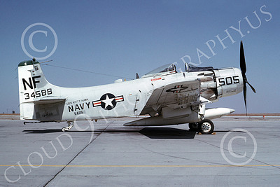 A-1USN 00007 Douglas A-1 Skyraider USN 134588 VA-115 ARABS USS Kitty Hawk NAS Lemoore Oct 1966, airplane picture, by Duane A Kasulka