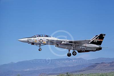 F-14USN 00686 A USN F-14 Tomcat jet fighter 160671 VF-51 SCREAMING EAGLES USS Kitty Hawk lands at NAS Fallon 6-1980, by Michael Grove, Sr