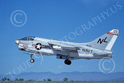 A-7USN 00152 A landing Vought A-7E Corsair II USN 156848 VA-94 SHRIKES USS Kitty Hawk NAS Fallon 6-1980 military airplane picture by Michael Grove, Sr