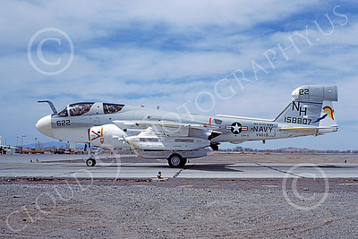 EA-6BUSN 00353 A taxing Grumman EA-6B Prowler USN 158807 VAQ-131 LANCERS USS Kitty Hawk NAS Fallon 4-1977 military airplane picture by Michael Grove, Sr