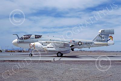 EA-6BUSN 00353 A taxing Grumman EA-6B Prowler USN 158807 VAQ-131 LANCERS USS Kitty Hawk NAS Fallon 4-1977 military airplane picture by Michael Grove, Sr