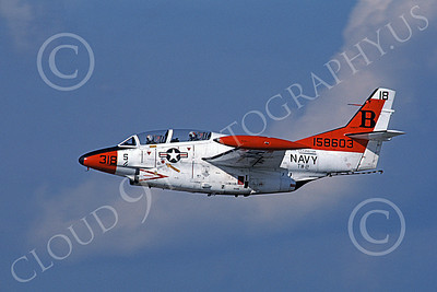 T-2USN 00080 A flying North American Aviation T-2C Buckeye USN 158603 TW-2 USS Lexington 6-1980 military airplane picture by Barry E Roop