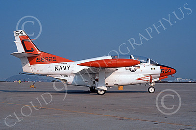 T-2USN 00061 A static North American Aviation T-2C Buckeye USN 158325 VT-26 FLYING TIGERS USS Lexington NAS Alameda 9-1987 military airplane picture by Michael Grove, Sr