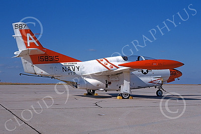 T-2USN 00063 A static North American Aviation T-2C Buckeye USN 158315 VT-9 TIGERS USS Lexington Andrews AFB 12-1984 military airplane picture by David Ostrowski