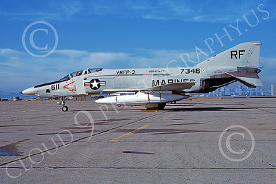 F-4USMC 00487 A static McDonnell Douglas RF-4B USMC 157346 VMFP-3 EYES OF THE CORPS USS Midway NAS Alameda 1-1978 military airplane picture by Michael Grove, Sr